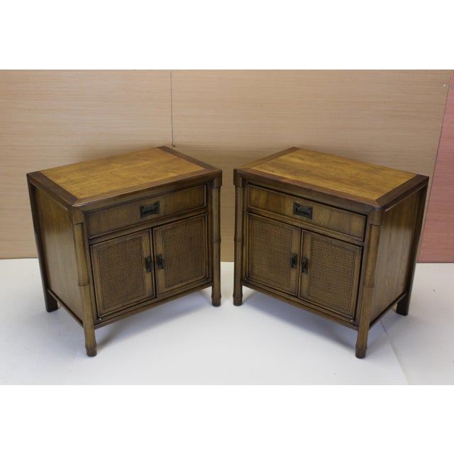 Mid-Century Campaign Style Nightstands - A Pair - Image 2 of 10