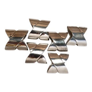 6 Vintage Silver Plated Wrap Napkin Rings