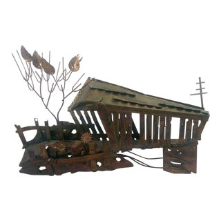 Metal Tin Brutalist Covered Bridge Wall Sculpture