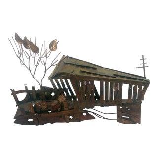 Metal Tin Brutalist Covered Bridge Wall Sculpture