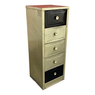 Mid-Century Aluminum Gold Five Drawer Cabinet