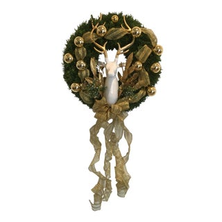 Vintage Gold Ornaments & Stag Christmas Wreath