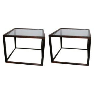 Brazilian Rosewood Open Frame Cube Occasional Tables - a Pair