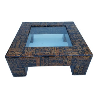 Faux Tortoise Shell Parsons Style Square Coffee Table