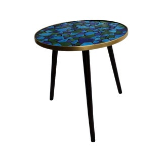 Vintage Green & Blue Mosaic Side Table