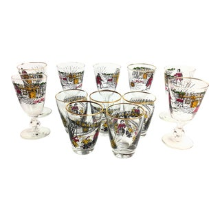 Vintage 1950s Libbey Treasure Island Glasses With Gold Rims - Set of 12