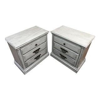 Light Grey Glazed Nightstands - Pair