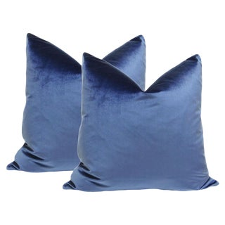 "22"" Sapphire Italian Silk Velvet Pillows - a Pair"