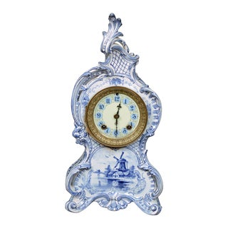 "Ansonia Royal Bonn Delft Ceramic ""LaCapelle"" Clock"