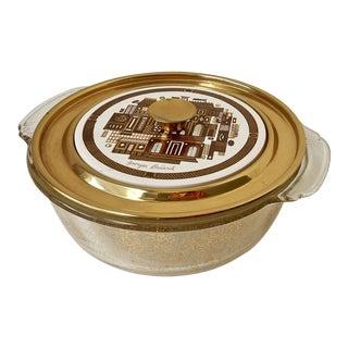 Georges Briard Mid-Century Brass & Glass Casserole Casserole Dish