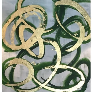 Green & Gold Circles Acrylic