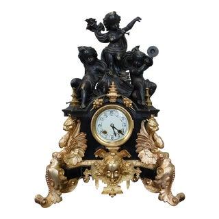 Palatial Gilt Dore Bronze Cherub Mantel Clock