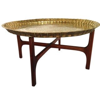 Large Round Brass Tray Table With Walnut Base