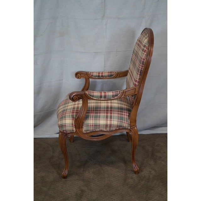 Fairfield French Style Plaid Upholstered Arm Chair - Image 3 of 10