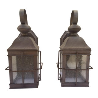 Mission Craftsman Style Lantern Wall Mount Lamps - Pair