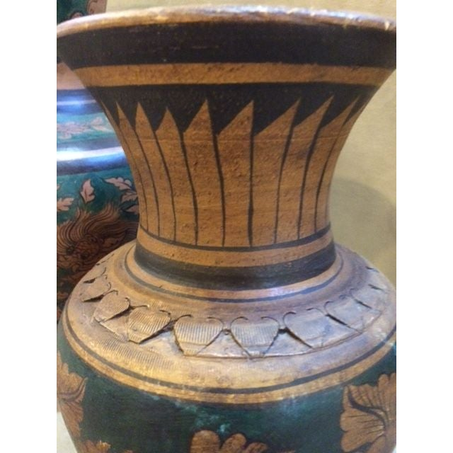 Mid-Century Urns with Deco Motif - A Pair - Image 3 of 6