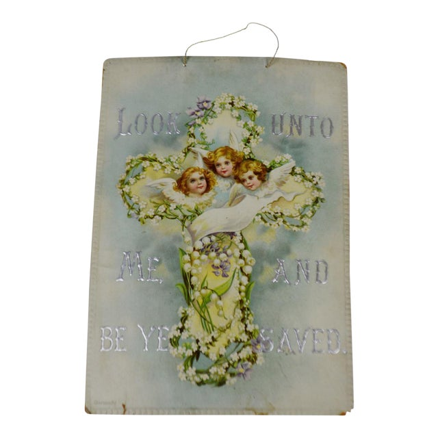 Victorian Wall Art Look Unto Me and Be Ye Saved Isaiah 45:22 Print on Board Made in Germany - Image 1 of 11