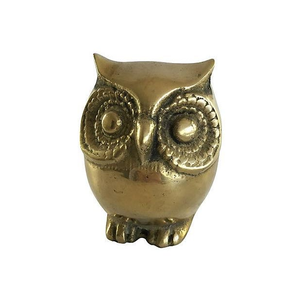 Image of Mid-Century Brass Owl Paperweight