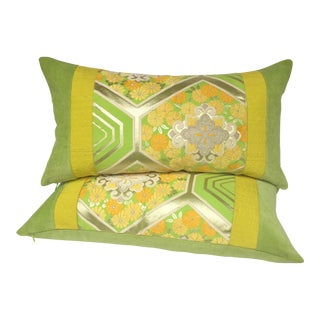 Green Japanese Obi Pillows - A Pair