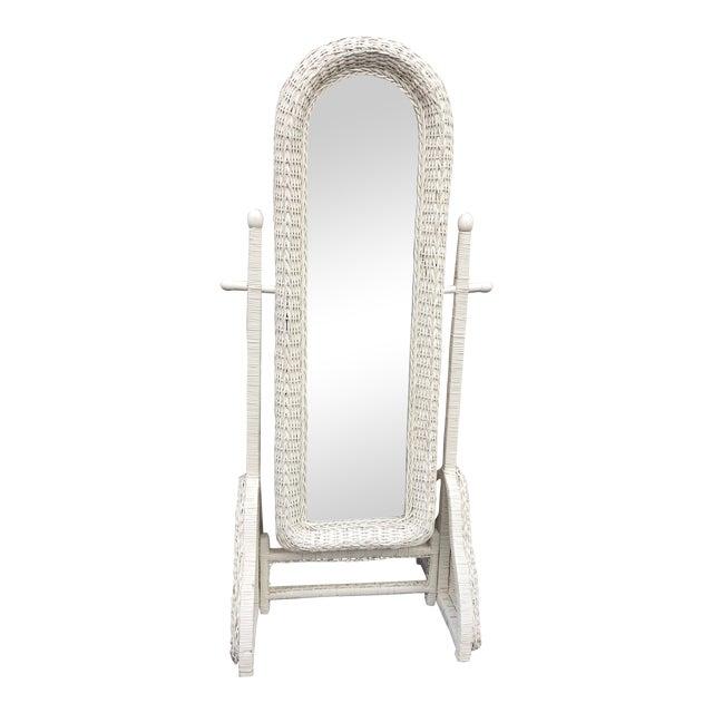 Vintage Free Standing White Wicker Mirror Chairish