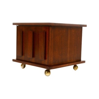 Mid-Century Rolling Walnut Side Table