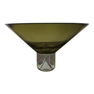 Elegant Footed Glass Bowl in Translucent Olive