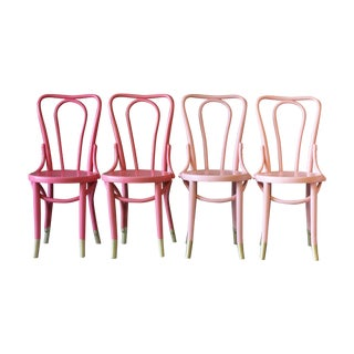 Coral Ombre Bentwood Cafe Chairs -  Set of 4