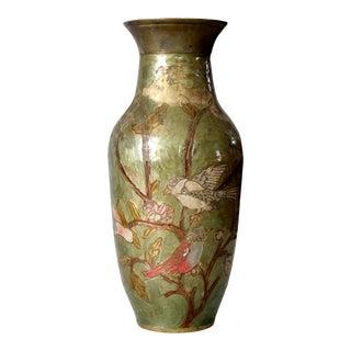 Brass Vase With Enamel Inlay