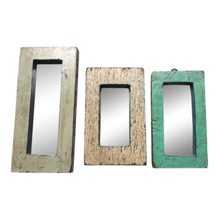 Vintage Indian Archway Painted Teak Mirrors - Set of 3