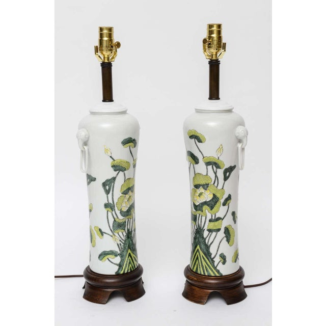 1960s Japanese Porcelain Lotus Flower Vase Form Table Lamps - Image 2 of 9