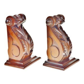 Solid Plantation Grown Mahogany Selamat Acanthus Bookends - a Pair