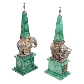 19th Century Silver Gilt Elephant Obelisks - Pair