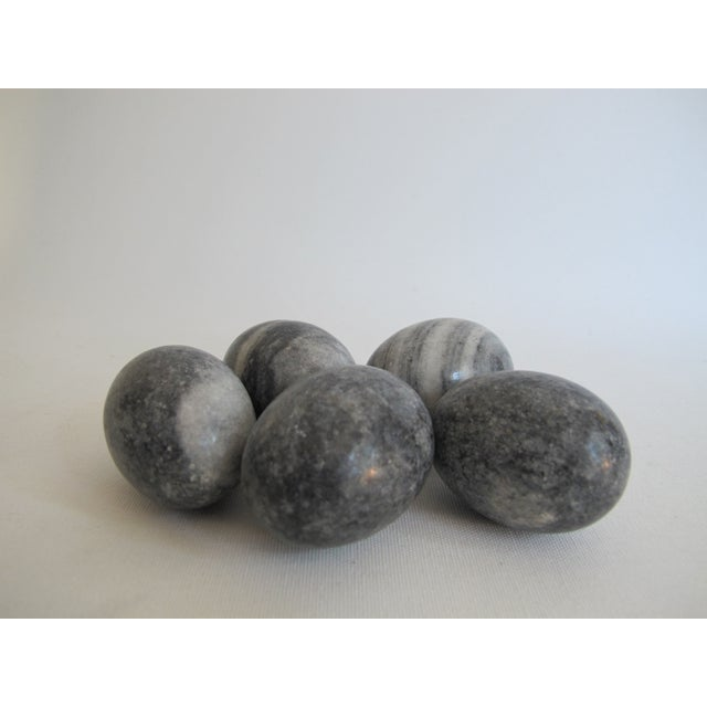 Image of Decorative Gray Marble Eggs - Set of 5