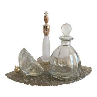 Vintage Vanity Tray & Perfume Bottles - Set of 4