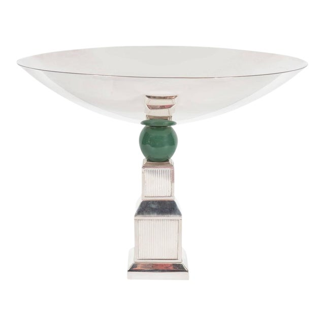 Mid-Century Modernist Art Deco Style Silver-Plated Bronze Tazza by Gucci - Image 1 of 10