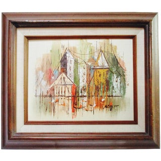 Signed Bold Abstract Cubist Cityscape Painting