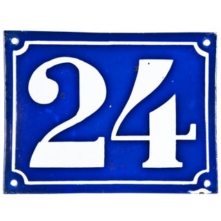 "Vintage French ""24"" Enamel House Number"