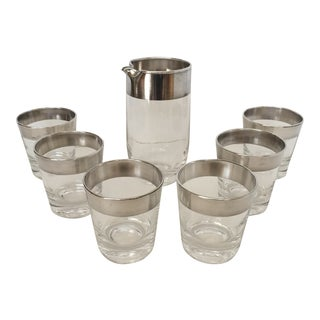 Dorothy Thorpe Silver Banded Pitcher & Glasses - Set of 7