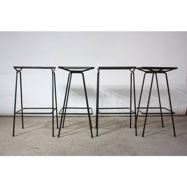 Image of Set of Four Allan Gould Iron and Rope Stools