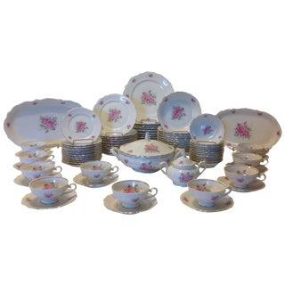 Bavarian Pink Rose China Set - Set of 84