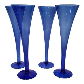 Vintage Cobalt Blue Hollow Stem Champagnes - Set of 4