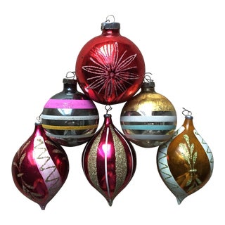 6 Vintage Glass Holiday Tree Ornaments