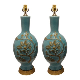 1970's Turquoise and Brass Lamps - Pair