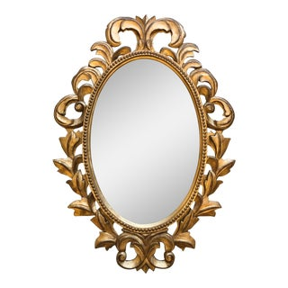 Italian Carved Wood Gilded Filigree Mirror
