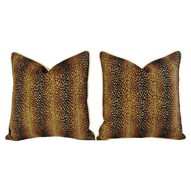 Designer Big Cat Velvet & Chenille Pillows - Pair - Image 7 of 8