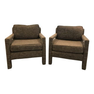 Milo Baughman Inspired Gray Parsons Chairs - a Pair