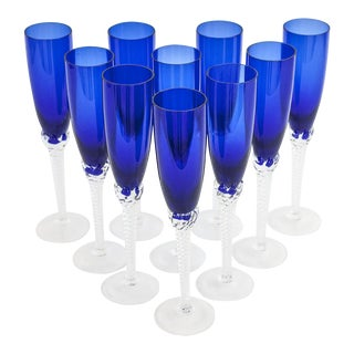 Vintage Cobalt Blue Crystal Champagne Flutes Imported From Croatia - Set of 8