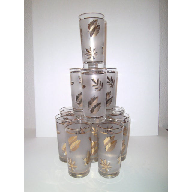 Gold Leaf Pattern Barglasses - Set of 12 - Image 2 of 7