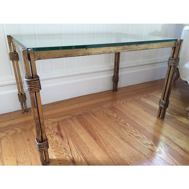 Small Brass And Glass Coffee Tables: Vintage Brass & Glass Small Coffee Table
