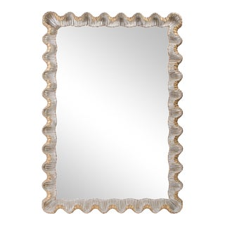Italian Gold & Silver Scalloped Wood Mirror